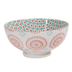 Saladier décor graphique Rosaces porcelaine tons orangés et turquoises D20xH12,5cm
