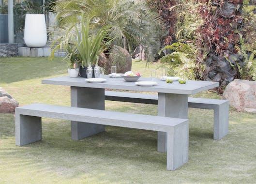 Salon de jardin Aspect Béton Table 200x90x75cm + 2 bancs 200x40x45cm HERCULE