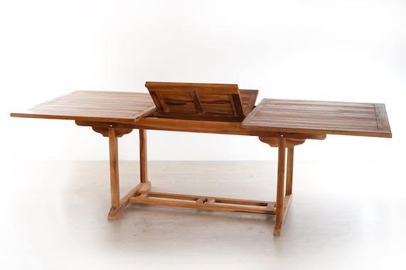 Salon de jardin en teck huilé Table rectangulaire 180/240cm 6 chaises MACAO