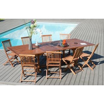 Salon de jardin en Teck massif huilé Table extensible 200/300x120x75cm + 8 Chaises  MACAO