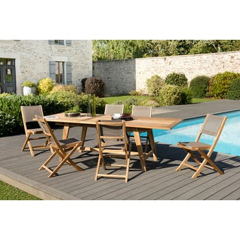 Salon de jardin en teck SUMMER (1 table de jardin extensible 180/240, 6 chaises)