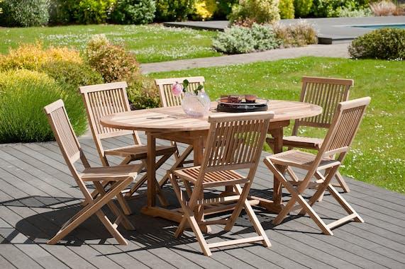 Salon de jardin en teck Table ovale 120/180 cm et 6 chaises Java pliantes SUMMER