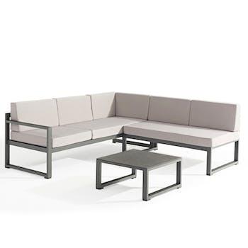 Salon de Jardin RELAX 3 pièces en aluminium gris anthracite et coussins tissu gris clair