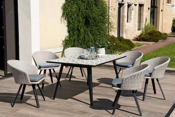 Salon de jardin SUMMER (1 table de jardin 162x102 carreaux de ciment, 6 fauteuils de jardin)