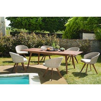 Salon de jardin SUMMER (1 table de jardin extensible 180x240, 6 fauteuils de jardin)