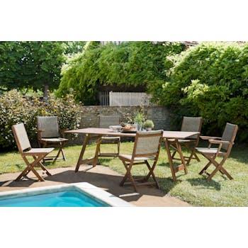 Salon de jardin SUMMER (1 table de jardin pliante acacia 220x90, 4 chaises de jardin, 2 fauteuils de jardin)