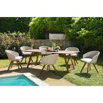 Salon de jardin SUMMER (1 table de jardin pliante acacia 220x90, 6 fauteuils de jardin)