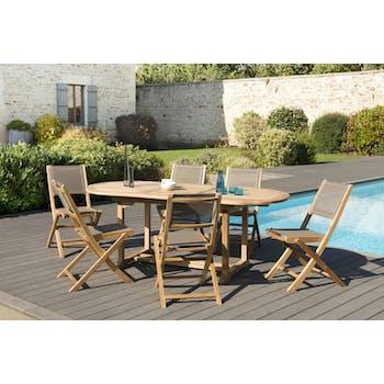 Salon de Jardin Table Teck 150/200cm + 6 Chaises pliantes SUMMER ref. 30020808