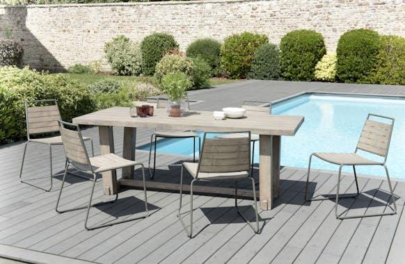 Salon de Jardin Teck Acier Table 200x90cm + 6 chaises empilables DETROIT ref. 30020824