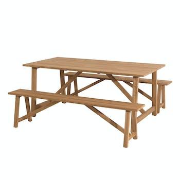 Salon de Jardin Teck Table 180x100 + 2 bancs BERGEN ref. 30020833