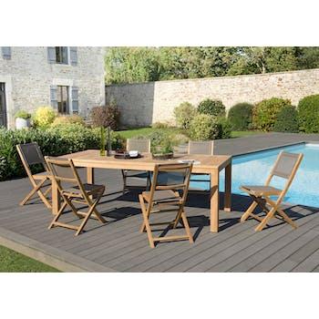 Salon de Jardin Teck Table 220x100 + 6 chaises pliantes BERGEN
