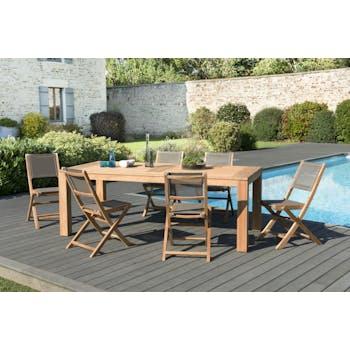 Salon de Jardin Teck Table 220x100 + 6 chaises pliantes BERGEN ref. 30020836