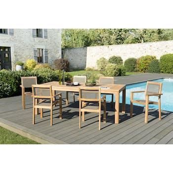 Salon de Jardin Teck Table 220x100 + 6 fauteuils empilables BERGEN ref. 30020839