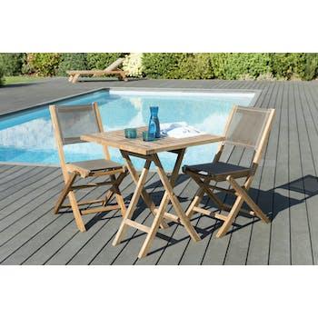 Salon de Jardin Teck Table carrée 70x70 + 2 chaises pliantes SUMMER ref. 30020852
