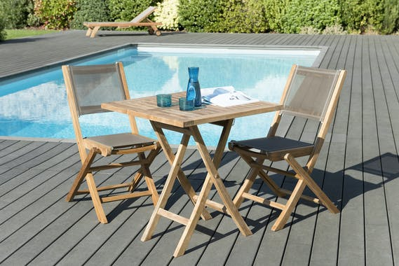 Salon de Jardin Teck Table carrée 70x70 + 2 chaises pliantes SUMMER ref. 30020852