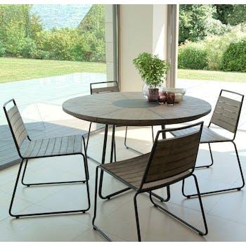 Salon de Jardin Teck Table D120 + 4 chaises empilables DETROIT ref. 30020827