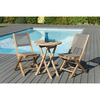 Salon de Jardin Teck Table D60 + 2 chaises pliantes SUMMER ref. 30020847