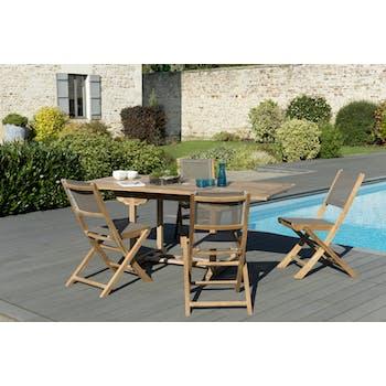 Salon de Jardin Teck Table extensible 120/180 + 4 chaises pliantes SUMMER ref. 30020844