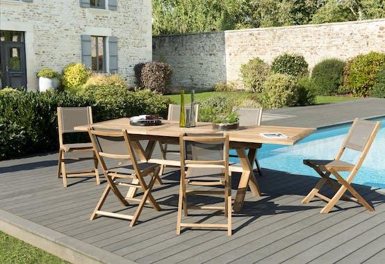 Salon de Jardin Teck Table extensible 180/240 + 6 chaises pliantes SUMMER ref. 30020856