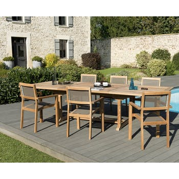 Salon de Jardin Teck Table extensible 200/300 + 6 fauteuils empilables SUMMER ref. 30020854