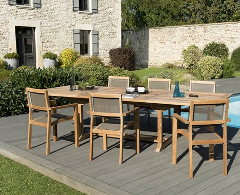 Salon de Jardin Teck Table extensible 200/300 + 6 fauteuils empilables SUMMER ref. 30020854