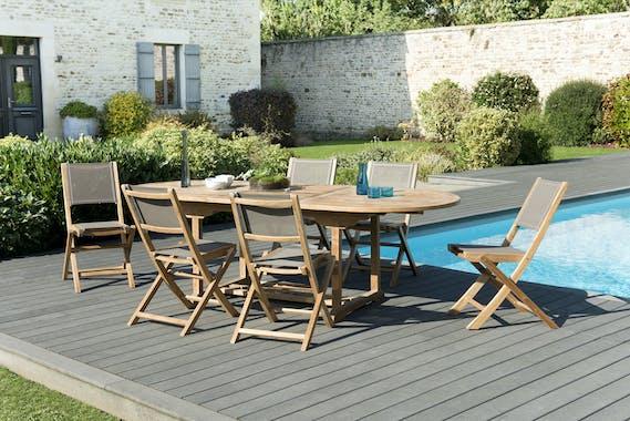 Salon de Jardin Teck Table ovale extensible 180/240 + 6 chaises pliantes SUMMER ref. 30020842