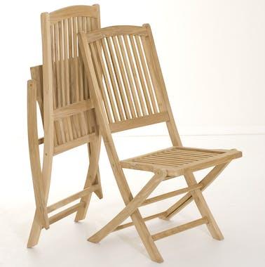 Salon jardin Teck table 180x100cm 2 faut. 4 chaises SUMMER