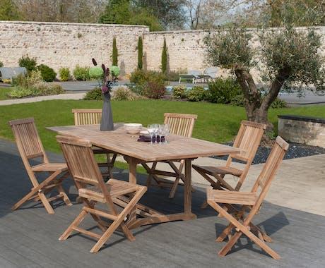 Salon jardin Teck table extensible 180/240cm 6 chaises SUMMER