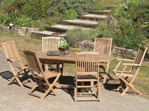 Salon jardin Teck table ovale 200x100cm 4 chaises 2 fauteuils SUMMER