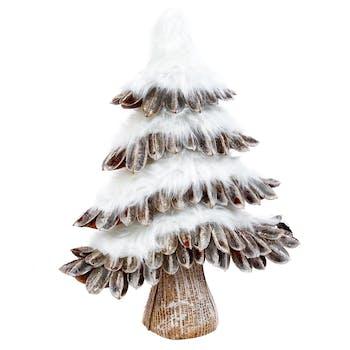 Sapin de décoration écorces et poils doux 42 cm