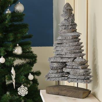 Sapin de Noël déco bois gris sur socle H 40 cm