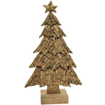 Sapin de Noël sculpté manguier vernis doré sur socle