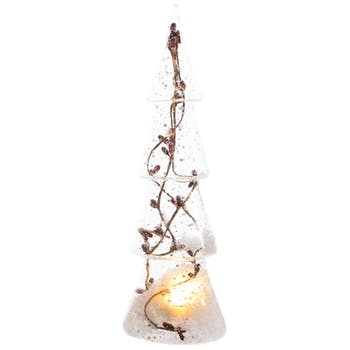 Sapin lumineux décor baies et neige LED
