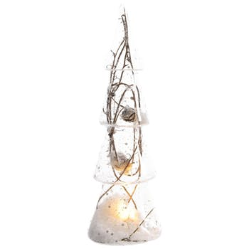 Sapin lumineux décor branches et neige LED