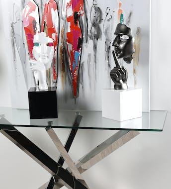 """Sculpture """"En Secreto"""" visage et main blanc sur socle H57cm"""
