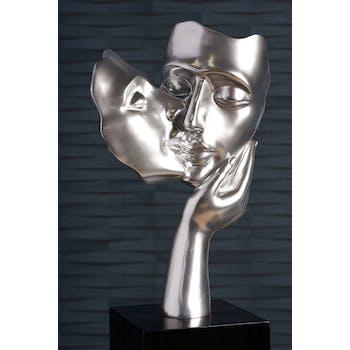 """Sculpture moderne """"Amore"""" argent brillant socle noir"""