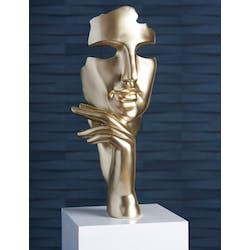 """Sculpture moderne """"Estilo"""" dorée socle blanc"""