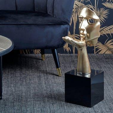 """Sculpture moderne """"Speranza"""" dorée socle noir"""