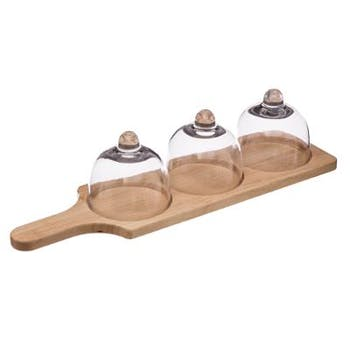 Set 4 pièces planche en pin et 3 cloches en verre 45x13xH13cm