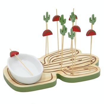 Set apéritif bol et plateau bois forme cactus