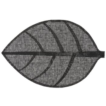 Set de table forme feuille 50 x 33 cm  Noir