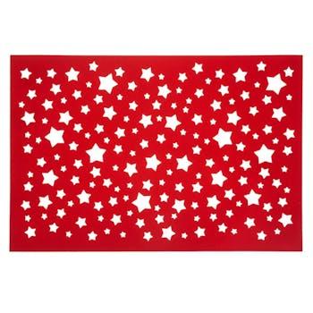 Set de table rouge étoiles ajouré