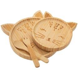 Set repas en bambou forme chat
