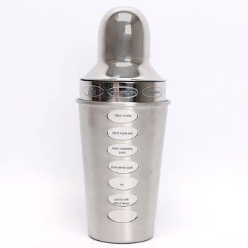 Shaker cocktail métal argenté avec recettes