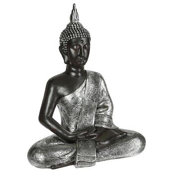 Statue bouddha assis Argenté 62cm