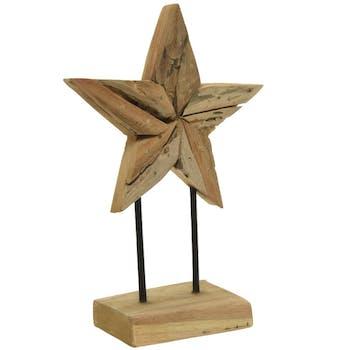 Statuette étoile en teck sur pied