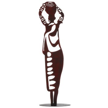 Statuette femme rouge pot sur la tête 53 cm