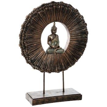 Statuette ronde bouddha sur pied