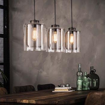 Suspension 3 lampes verre grillage RALF
