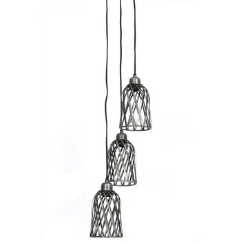 Suspension 3 lampes zinc antique